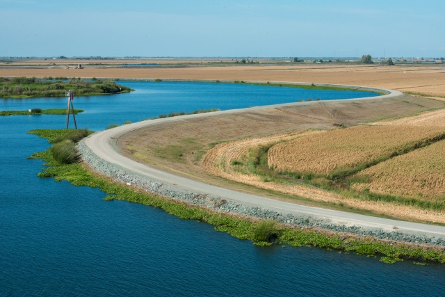 The Sacramento - San Joaquin Delta, as seen from a ship traveling through the Stockton Ship Channel on September 24, 2013. Photo by Florence Lo, California Department of Water Resources